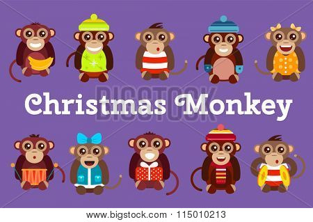 Happy cartoon monkey toys dancing party birthday background. Monkey party birthday dance. Merry christmas monkey toys, banana, jump, smile, monkey play. Monkey animals cartoon flat style