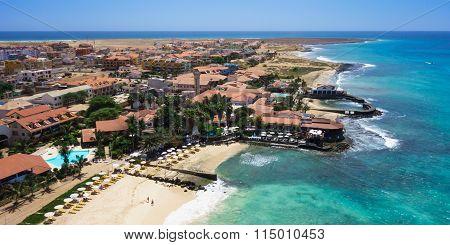Panoramic Aerial View Of Santa Maria Beach In Sal Island Cape Verde - Cabo Verde