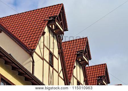 Half-timbered Architecture. Fish Village, Kaliningrad, Russia