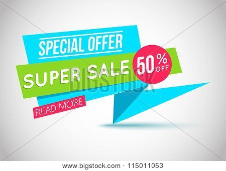 Super Sale paper banner. Super Sale and special offer.