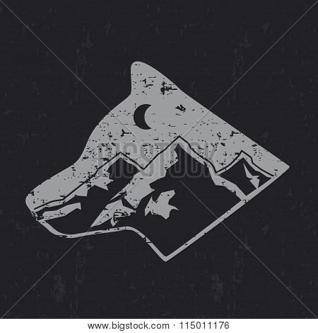 Gray wolf typography design, t-shirt graphics.