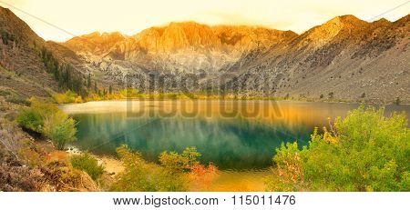 Panoramic view of Convict lake in eastern Sierra mountains.