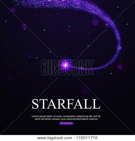 Shining falling star in the night sky.