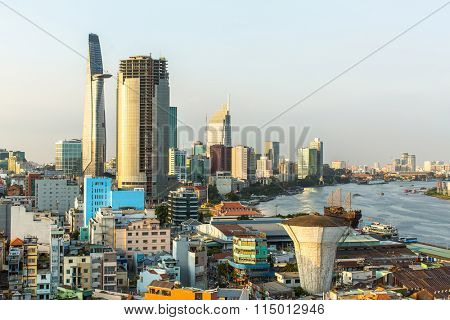 Top view of Ho Chi Minh City (Saigon), Vietnam.