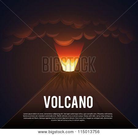 glowing Volcano erupting