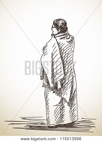 Sketch of standing woman wrapped in shawl, Hand drawn illustration