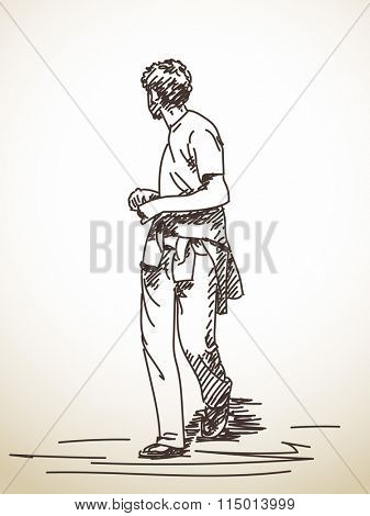 Sketch of walking man turned to look back, Hand drawn illustration