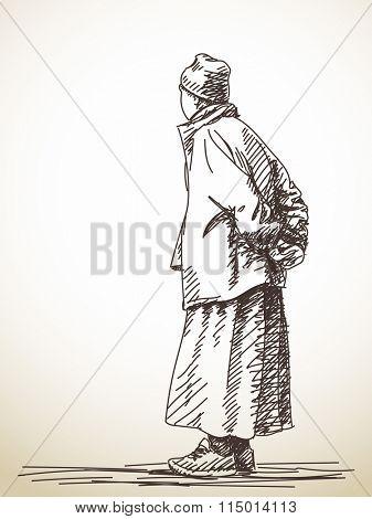 Sketch of tibetan man from back, Hand drawn illustration