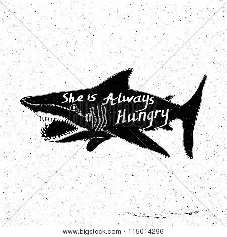 Hand-drawn large shark with inscription She always hungry