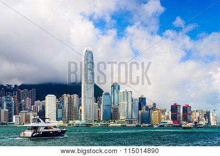 Hong Kong, China skyline at the bay.