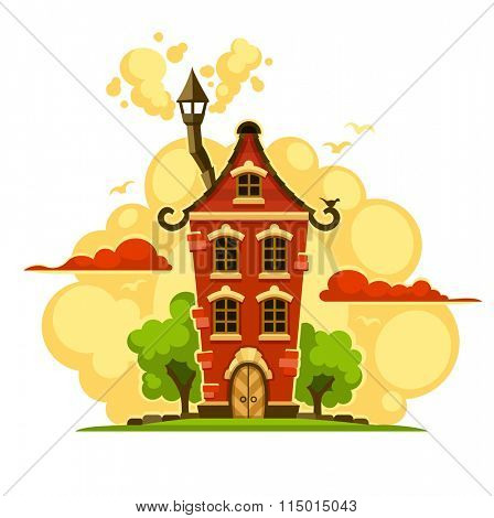 Fairy-tale house over sunset clouds. Isolated on white background. Rasterized illustration