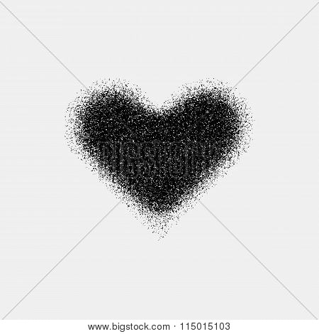 Black Abstract Heart Sign With Metal Texture