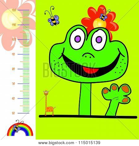 Children Meter Wall Illustration With Rainbow