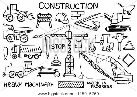Construction and heavy machinery sketch. Hand-drawn cartoon industry icon set. Doodle drawing.