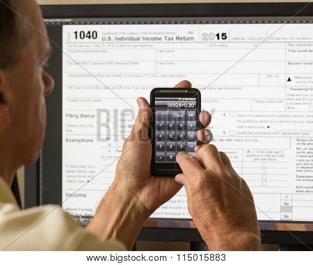 Usa Tax Form 1040 For Year 2015 And Calculator