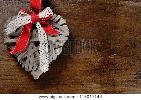 Valentine Day Concept - Heart On Wooden Background