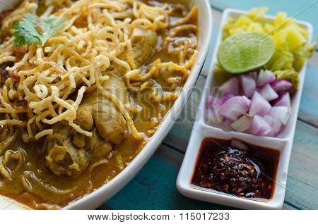 Egg Noodle In Chicken Curry (thai Food Name Kao Soi Kai )