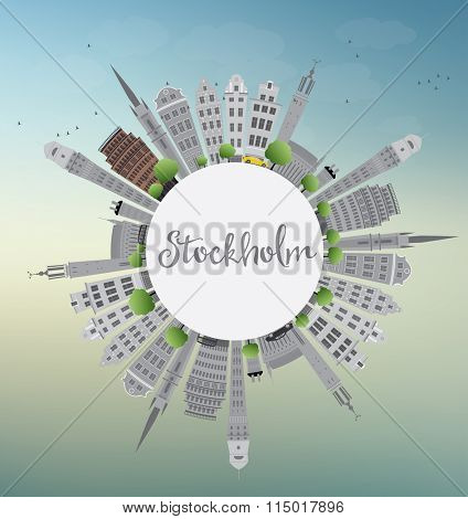 Stockholm Skyline with Gray Buildings and Blue Sky with Copy Space. Vector Illustration. Business and Tourism Concept with Historic Buildings. Image for Presentation, Banner, Placard or Web Site.
