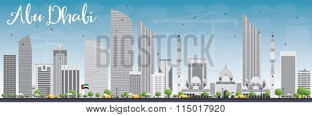 Abu Dhabi City Skyline with Gray Buildings and Blue Sky. Vector Illustration. Business Travel and Tourism Concept with Modern Buildings. Image for Presentation, Banner, Placard and Web Site.