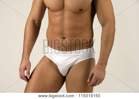 Boxer White Shorts Slip Men Underwear On Fit Strong Mans Body