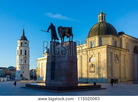 Vilnius cathedral square at day time, Lithuania