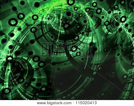 Abstract green Technology style image on black background