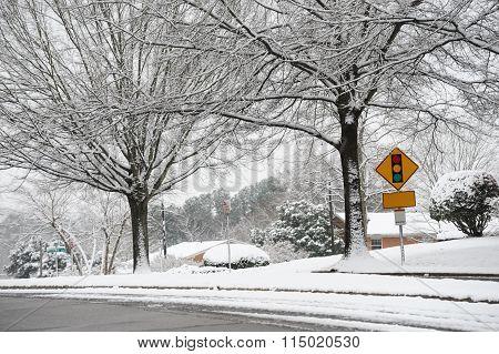 street scene after snow