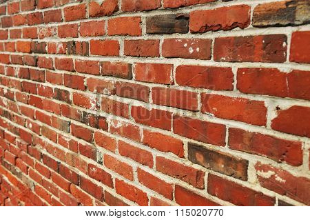 old red brick wall perspective view
