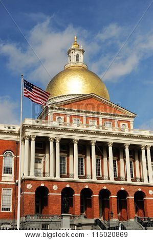 Massachusetts State House in sunny day, vertical composition