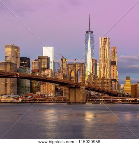 New York City - moning view of Manhattan with skyscrapers and famous Brooklin Bridge