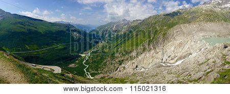 Sprawling Swiss mountain landscape