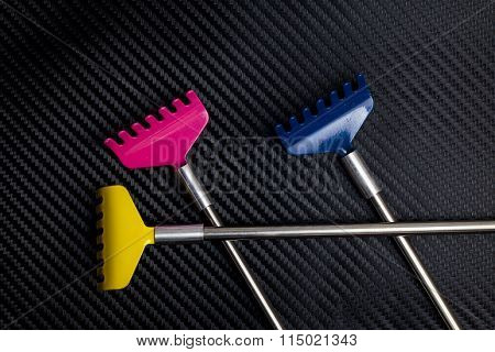 Colorful metallic back scratcher.