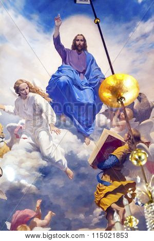 Jesus Angels Painting Ceiling Church Saint Nicholas Askold's Grave Kiev Ukraine