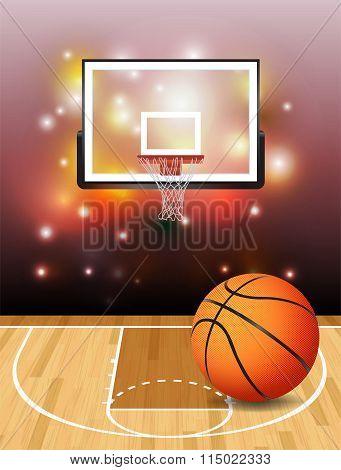 Basketball Court Ball And Hoop Illustration