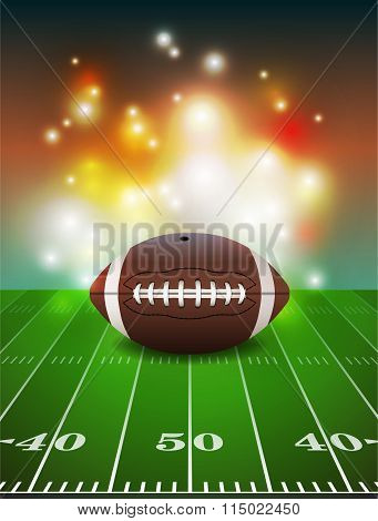 American Football On Field Background