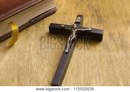 Catholic Wooden Crucifix And Book