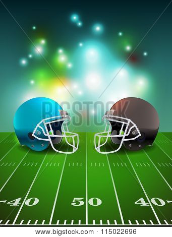 American Football Helmets On Field