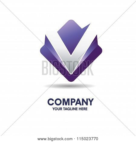 letter v logo with 3d effect