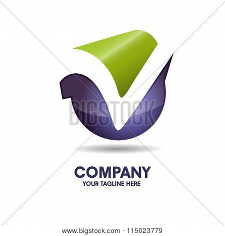 letter v  with 3d style logo vector