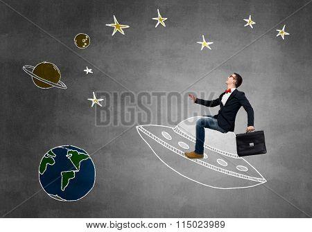 Guy ride UFO ship