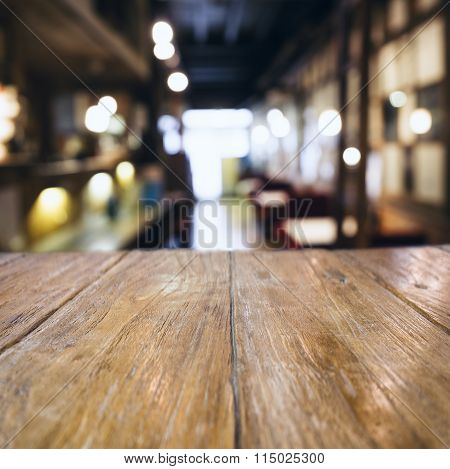 Table Top Counter Bar Blurred Cafe Restaurant Background