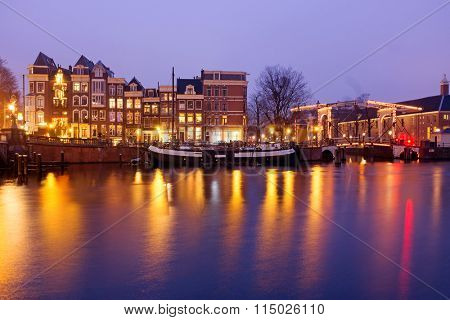 Amsterdam by night at the Amstel in the Netherlands