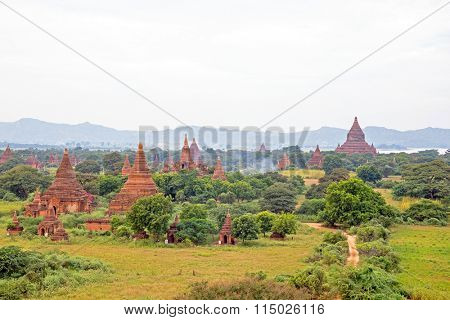 Ancient pagodas in the landscape from Bagan in Myanmar