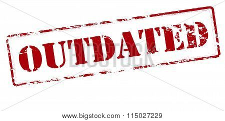 Rubber stamp with word outdated inside vector illustration