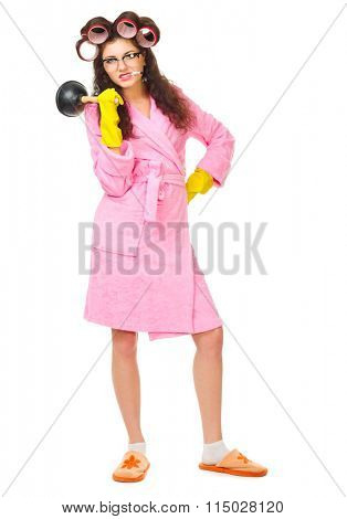 Anger housewife with cigarette and plunger isolated