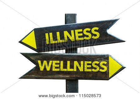Wellness - Illness signpost isolated on white background