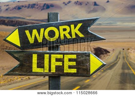 Work - Life signpost in a desert background