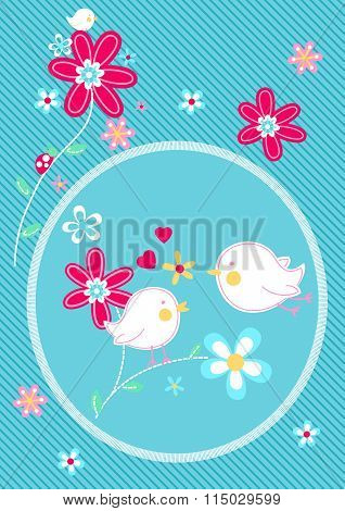 Little Birds On Flower Floral Embroidery