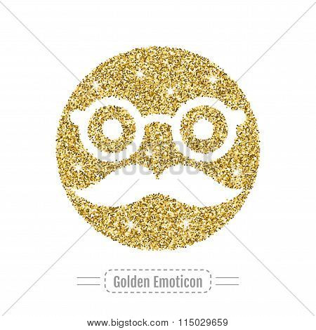 Golden Glitter Emoticon, Icon, Vector Illustration