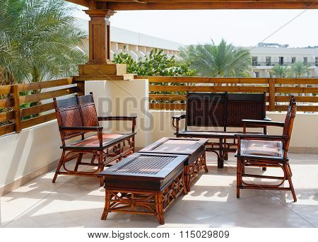 Egypt, Sharm el-Sheikh on 14 March 2014 Hotel Xperience Kiroseiz Parkland: Furniture On The Balcony